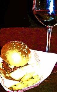 Mini burger, truffle fries and Cabernet Sauvignon